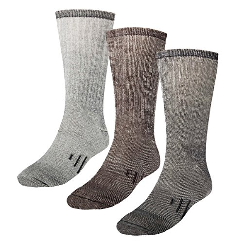 - 3 Pairs Thermal 80% Merino Wool Socks Hiking Crew, black, gray, brown, men's shoe size 9-12, women's 11-13