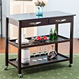 #10: Harper&Bright Designs Kitchen Dining Trolley Cart Storage Cart with Drawers & Shelves (Espresso)