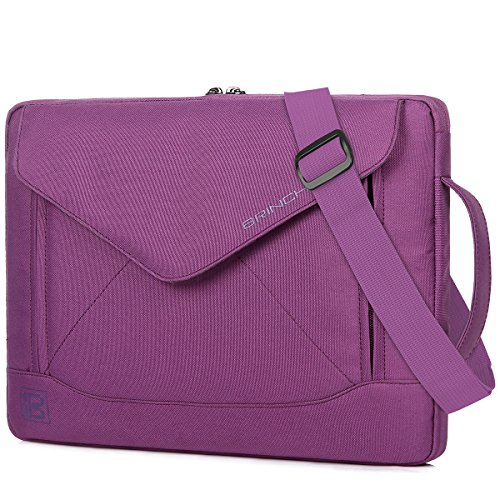 BRINCH Durable Envelope Nylon 15 - 15.6 Inch Laptop / Notebook / Macbook/Ultrabook/Tablet Computer Bag Shoulder Carrying Envelope Case Pouch Sleeve With Shoulder Strap Pockets and Card Slots (Purple) (Hp Case Purple Laptop)