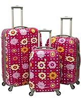 Pink Flower 3 Piece Luggage Set