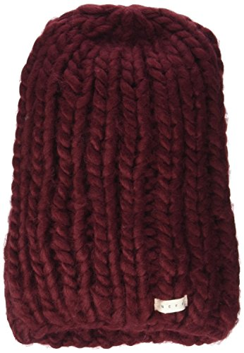 Neff Women's Cara Textured Beanie with Oversized Yarn, Maroon, One Size