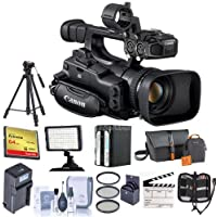 Canon XF-105 High Definition Professional Camcorder, XF Codec - Bundle w/Video Bag, 64GB Compact Flash Card, Tripod, 58mm Filter Kit, Spare Battery, Video Light, Cleaning Kit, Memory Wallet, and More