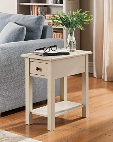 One Source Living Side Table with Charging Station in Antique White