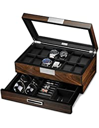 Lifomenz Co Wooden Watch Box for Men Watch Jewelry Box Organizer with Valet Drawer,12 Slot Watch Display Case Holder Large Watch,Men Accessories Organizer with Real Glass Window Top