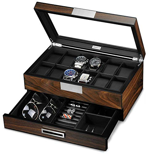 Lifomenz Co Wooden Watch Box for Men Watch Jewelry Box Organizer with Valet Drawer,12 Slot Watch Display Case Holder Large Watch,Men Accessories Organizer with Real Glass Window Top from Lifomenz Co
