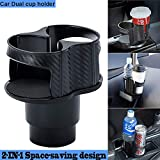 NSTART Car Cup Holder Adapter Organizer with Adjustable Base,Extra Auto Cup Holders Expander,Unique 2 in 1 Design Soft Drink Can Coffee Bottles Stand,Universal Detachable Water Bottle Holder for Cars