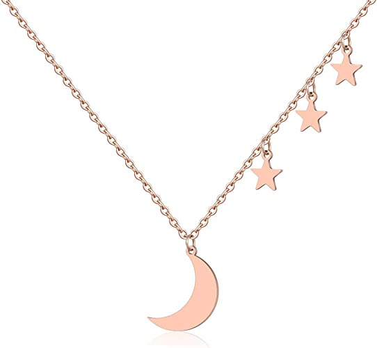 NEW Star Moon Crescent Pendant Charm Gold Silver Necklace Chain Choker Gift
