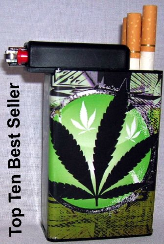 Cigarette-Case-Green-Plant-Weed-with-Built-on-Lighter-Holder
