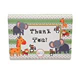 Baby : Adorox Baby Jungle Zoo Animals THANK YOU Cards Baby Shower Birthday Party Safari Theme Boys Girls (48 Pcs. Set)