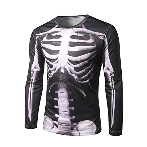 Mens 2017 Halloween Fashion Long Sleeve 3D Skeleton Print T Shirt Round Neck Blouse Top (XXL, Black)