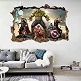 Jewh Cartoon Movie Avengers Wall Stickers Kids Rooms - Home Decor 3D Effect Decorative Wall Decals