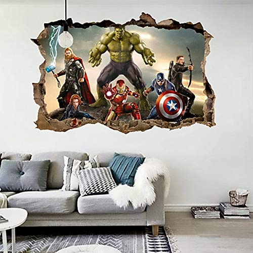 Jewh Cartoon Movie Avengers Wall Stickers Kids Rooms - Home Decor 3D Effect Decorative Wall Decals - DIY Mural Art PVC Posters Art (50x70cm)