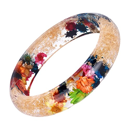 - MonkeyJack Handmade Lucite Plastic Dried Flowers Incased Resin Women Bracelet Bangle - Multi-color 2