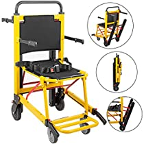 Happybuy Stair Climbing Wheelchair 350 lbs Manual Stair Chair 200W Emergency Stair Climbing Chair 4 Wheel Foldable Crawler Evacuation Stair Chair Lifts for Seniors
