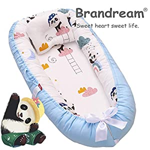 Brandream Baby Nest Bed Panda, Baby Lounger Portable Newborn Bassinet Crib for Travel/Bedroom Perfect for Co-Sleeping (Navy Blue Panda Collection) 100% Cotton Breathable & Hypoallergenic