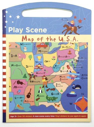 - Mudpuppy Map of the USA Play Scene Sticker Set