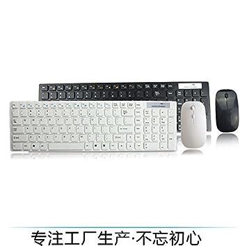 Ratones Ultra Delgado Teclado de Voz inalámbrico y el Juego del Ratón Impermeable Ordenador Portátil computadora de Escritorio Ratones (Color : Blanco): ...