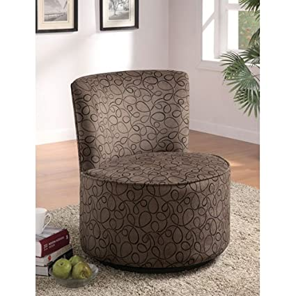 Bon Coaster 902003 Round Swivel Accent Chair, Swirly Print