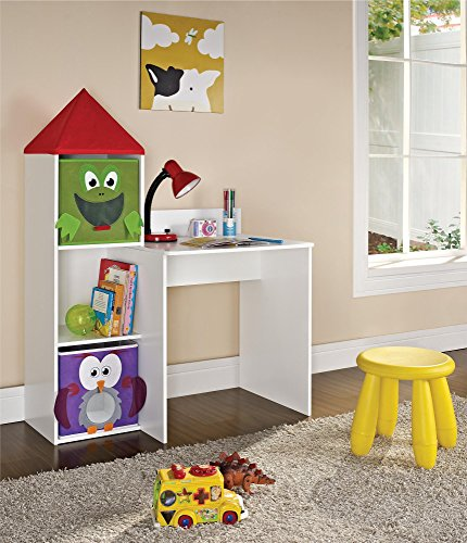 Altra Furniture Kids White Castle Tower Desk with 2 Bins