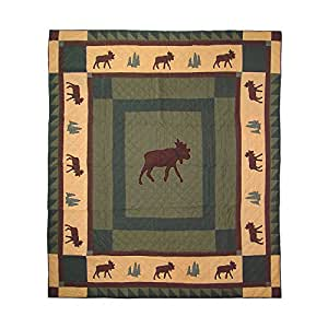 Patch Magic Moose Trail Quilt, Twin, 65-Inch by 85-Inch