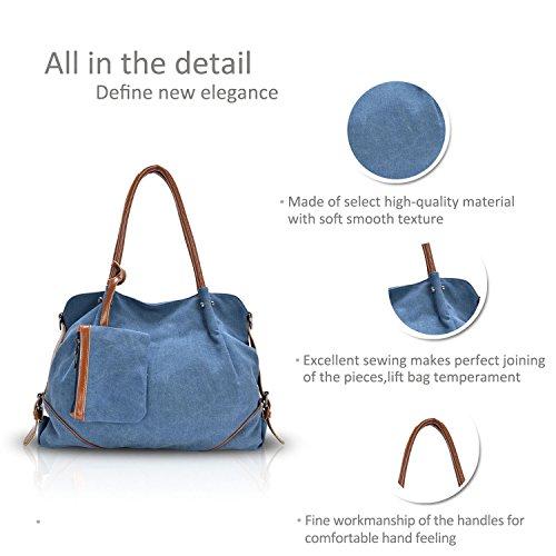 Bag Spalla Tre Nuove Azzurro Big Handbag amp;doris Preppy Style Canvas Nicole A Pezzi Donne 8BwpxnqI7