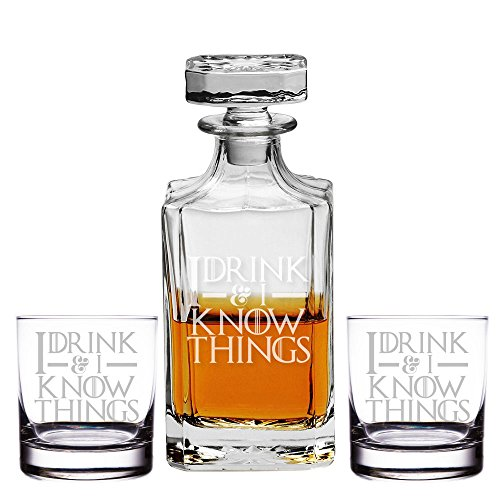 I Drink & I Know Things Engraved Decanter and Rocks Glasses, Set of 3