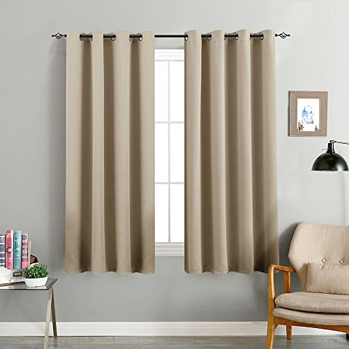 Room Darkening Window Curtains for Bedroom Triple Weave Moderate Blackout Curtains for Living Room 63 inches Long Light Reducing Window Treatment Set, Taupe, 2 Panels