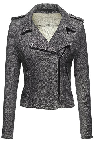 Double Breasted Moto 2Tone French Terry Knit Jackets, 039 - Black, Medium