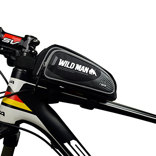 """WILDMAN Bicycle Tube Frame Pannier Waterproof Phone Bag for 5"""" 6"""" Screen Size, Bike Frame Strap Attachment Mount"""