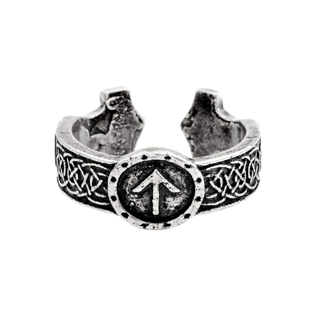 EH-LIFE Bronze Hammer Viking Amulet Runic Nordic Ring Jewelry Gift for Men Silver