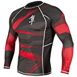 Hayabusa Men's Metaru 47 Rashguard Long Sleeve MMA Black/Red Medium