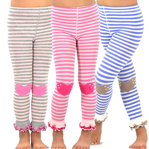 TeeHee Kids Girls Leggings(Footless Tights) with Ruffle Bottom 3 Pair Pack (3-5 Years, Stripe with Heart)