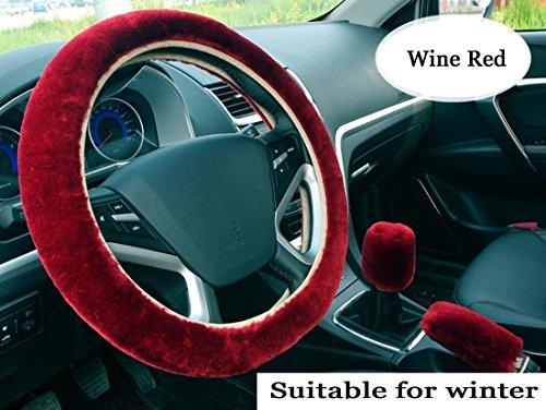 Cover Wheel Steering Set (acdiac 3pcs Plush Car Steering Wheel Covers Winter Faux Wool Hand Brake & Gear Cover Set Car Seat Cover Interior Accessories-38cm (wine red))