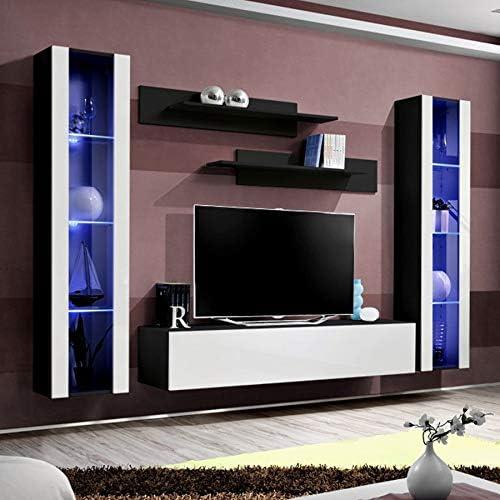 NOUVOMEUBLE Janina - Mueble Completo para televisor, Color Negro y ...