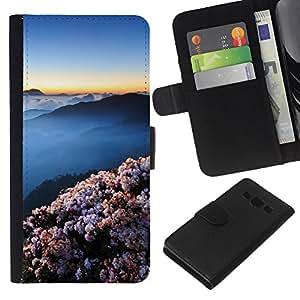 YiPhone /// Tirón de la caja Cartera de cuero con ranuras para tarjetas - Montañas japonesas hermosas - Samsung Galaxy A3