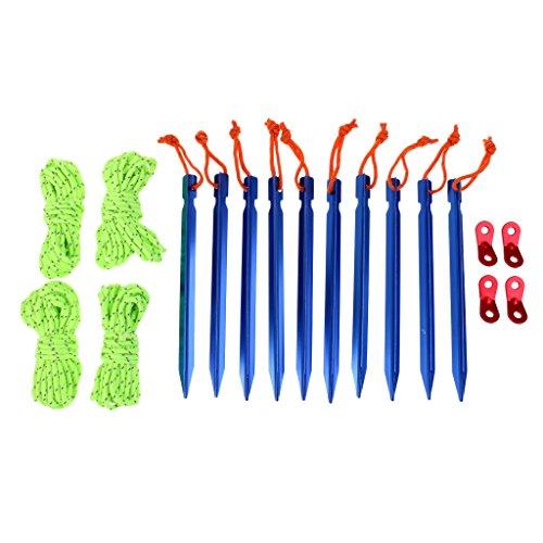 マイクロペインティング凶暴なノーブランド品  全3色 10個 テントペグ 反射 ライン ロープ コード テンショナー ポーチセット - ブルー