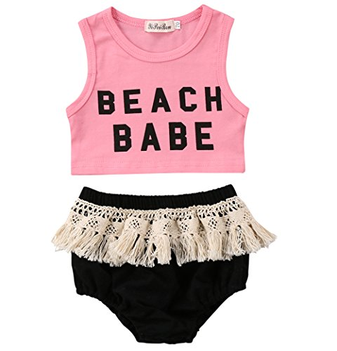 er Baby Girl Beach Babe Top and Tassel Shorts Pants 2 Piece Sunsuit Playwear Outfits … (Pink, 80 (12-18 Months)) (2 Piece Sunsuits)