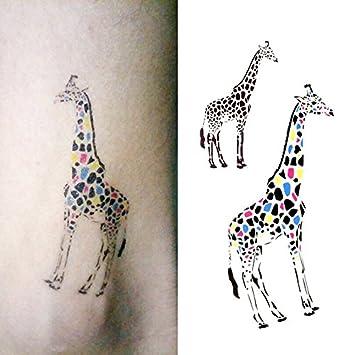 1023338c2 Amazon.com : Oottati Small Cute Temporary Tattoo Colorful Giraffe (2  Sheets) : Beauty