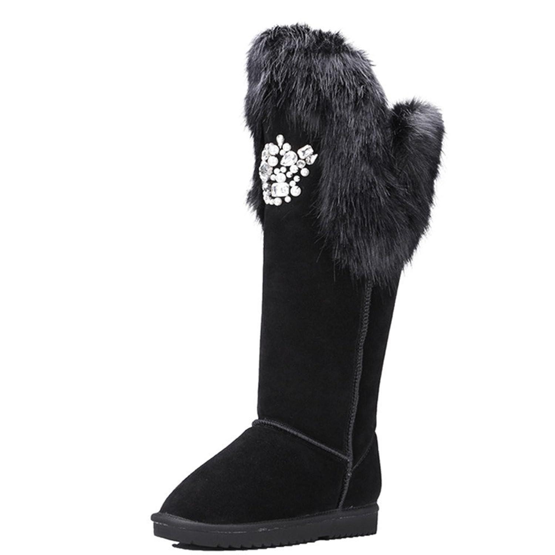 Nine Seven Suede Leather Women's Round Toe Flat Heel Rhinestones Handmade Knee High Snow Boot