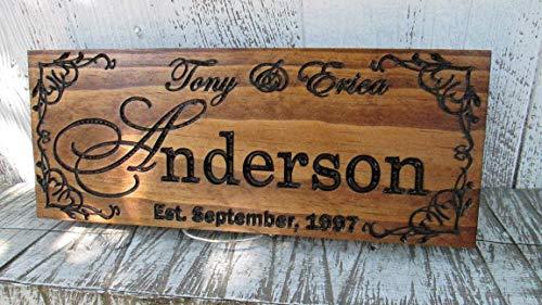 Retreat Wood Sign - Established Last Name Sign, Family Name Plaque, Custom Carved Wood Sign. E103