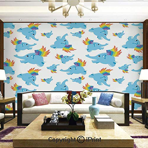 Lionpapa_mural Nature Wall Photo Decoration Removable & Reusable Wallpaper,Blue Colored Elephants with Rainbow Wings Superhero Animal Cute Happy Design Decorative,Home Decor - 66x96 inches ()