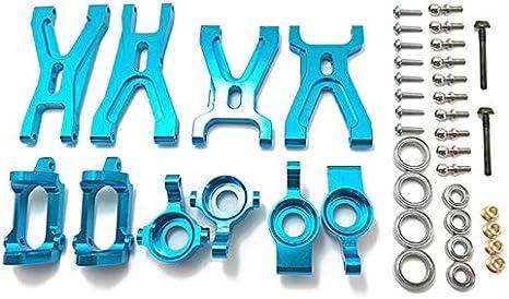 TOOGOO Kit de Piezas de Asiento de Brazo de suspensión y buje Delantero / Trasero C Mejorado para WLtoys A959 A979 A959B A979B Reemplazos de automóviles RC,Azul