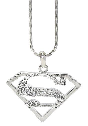 Amazon Fashion Jewelry Silvertone Crystal Superman Symbol