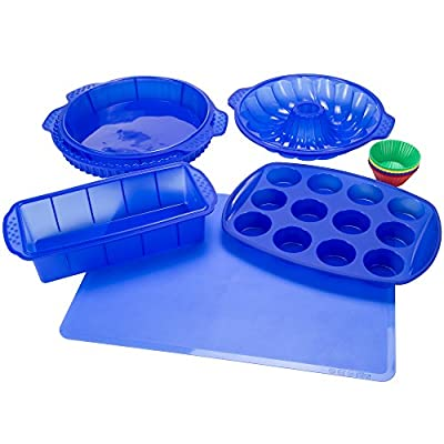 Classic Cuisine 18 Piece Silicone Bakeware Set, Red