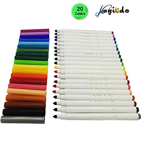 Magicdo® 20 cols Super Washable Markers, Super Tip Water-based Markers Classic Colors, Watercolor Pen with Non-Toxic for Kids and - Combinations Color Classic