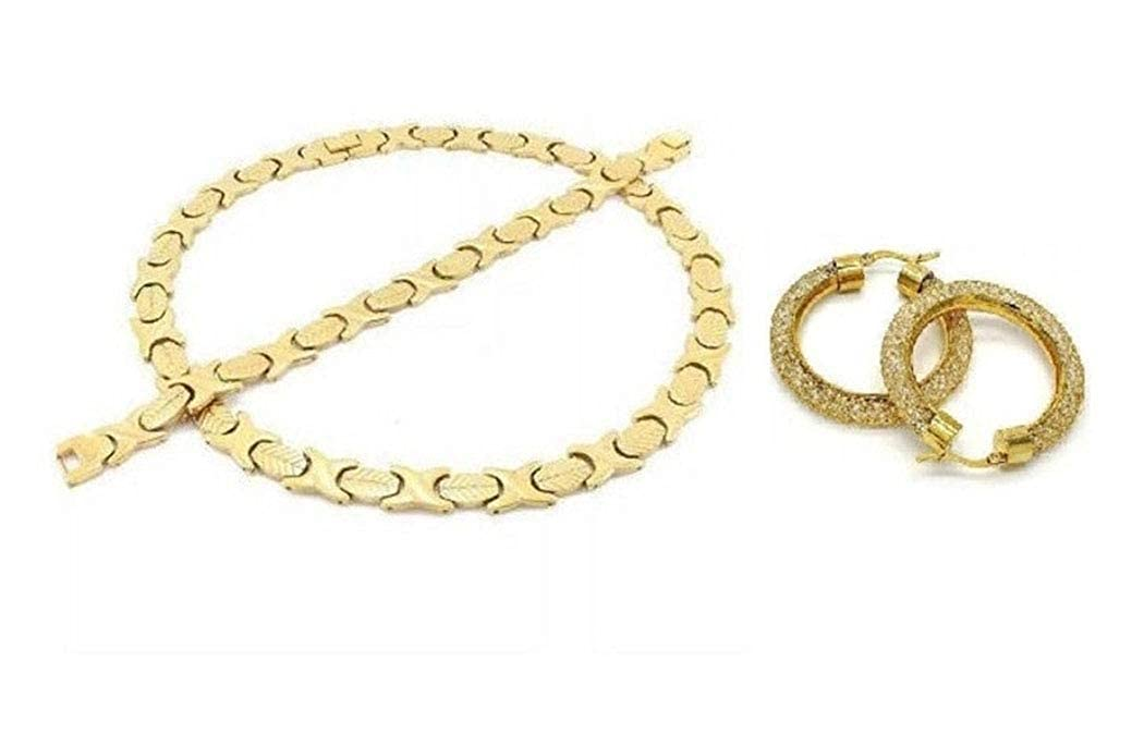 SPARKLE XOXO Womens 14k Gold Finish Wide Hugs /& Kisses Necklace Bracelet and Earring Set with Iced Out Filigree Hoop Earrings