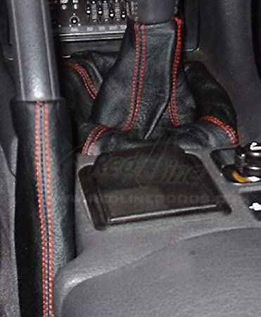 Black Leather-Silver Thread RedlineGoods Shift Boot Compatible with Mitsubishi GTO//3000GT 1990-97