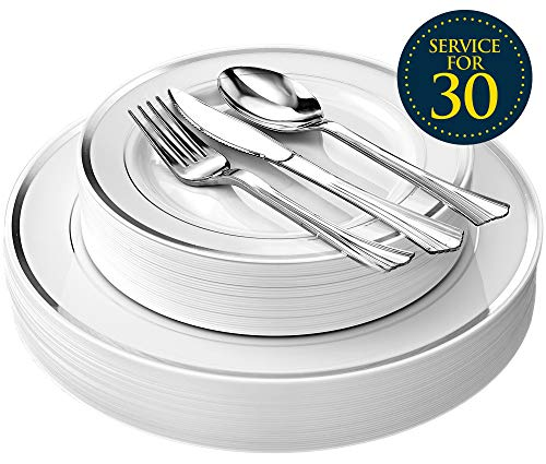 Disposable Plastic Plate Dinnerware Set - 150 Piece Including Dinner Plates, Salad Plates, Forks, Knives, Spoons (30 of Each) for Wedding, Bridal Shower - Durable Decorative Plates By Lendra