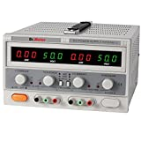 Dr.Meter DC Power Supply HY5005E-2, Digital Outputs 50V/5A with Banana to Alligator Cable