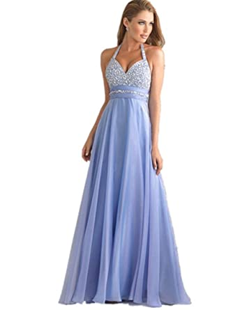 atopdress T8 Evning helterneck prom sequined gown eveing dress (6, BLUE)